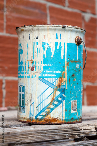 Old and rusted paint tin