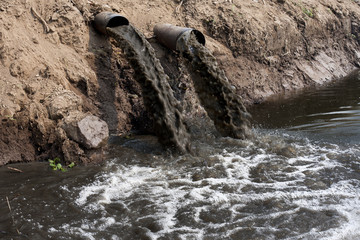 Water pollution in river by industrial.