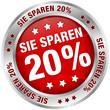 """Button """"Sie sparen 20%"""" rot/silber"""
