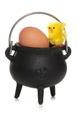 easter chick and egg in a cauldron cut out