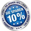 """Button """"Sie sparen 10%"""" blau/silber"""