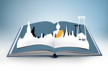 3D open book with thailand bangkok travel concept
