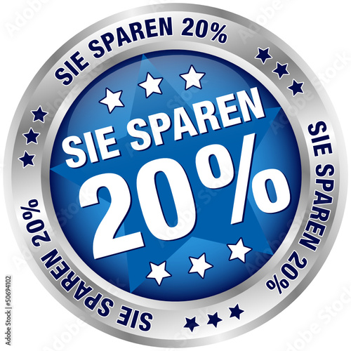 """Button """"Sie sparen 20%"""" blau/silber"""