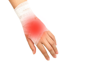 hand injury ,wrist strain ,sprained in white bandage