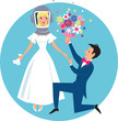 Allergic bride in a diving helmet and groom with flowers