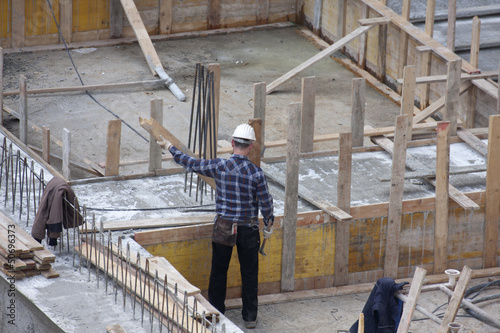 Carpenter at work on site