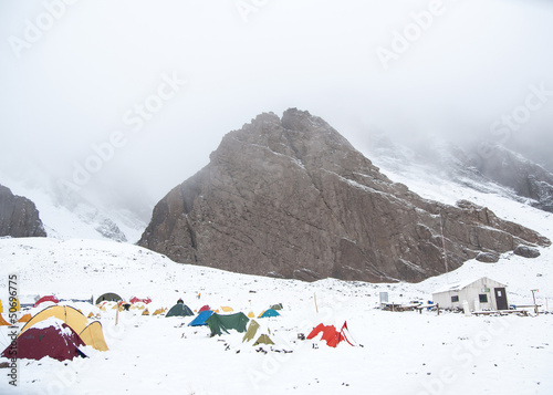 Panoramic view of Confluencia Camp. Aconcagua National Park.