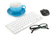 Coffee cup, keyboard, mouse and glasses