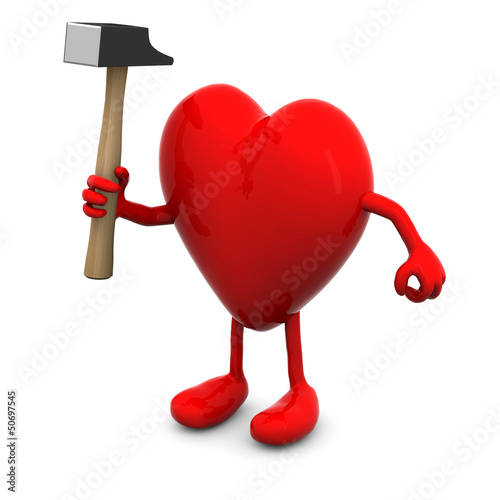 red heart with arms and legs and hammer on hand