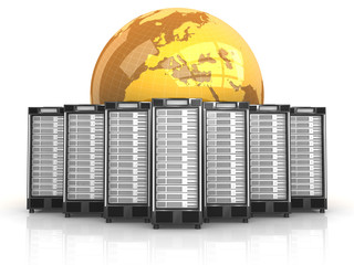 7 Server in Formation mit goldenem Globus