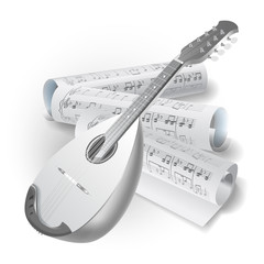 Traditional Neapolitan mandolin on white background with notes