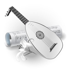 Late Baroque era lute on white background with notes