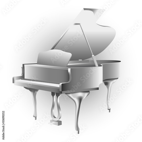 Classical grand piano, isolated on white background