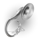 Classical sousaphone, isolated on white background