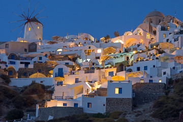 Oia with the famous windmill at night