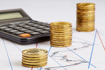 Coins stocks rising, calculator on the financial charts
