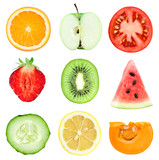 Fototapety Fresh fruit and vegetable slices