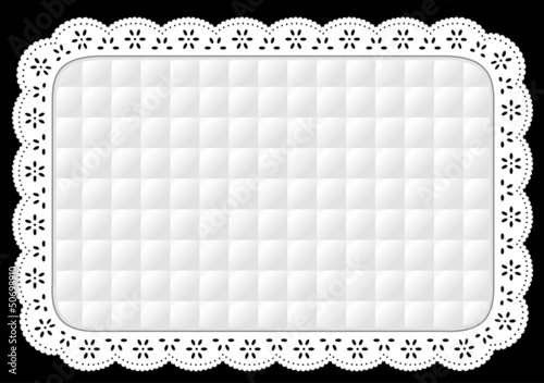 Place mat, quilted Eyelet Lace Embroidery home decorating, table