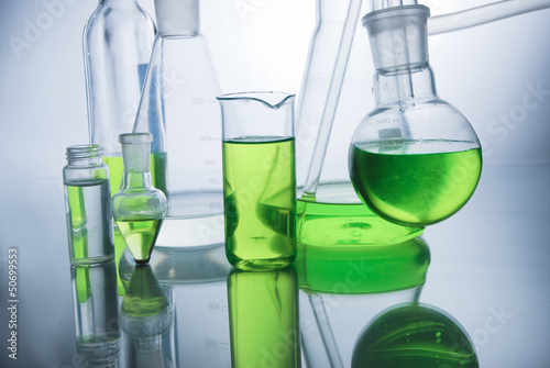 Laboratory glassware over white