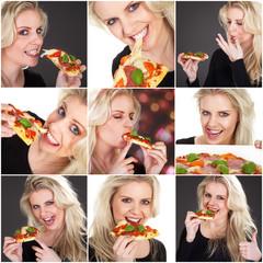 Pizza und hübsche Frau Collage