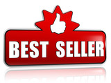 best seller and thumb up sign in 3d red banner with star