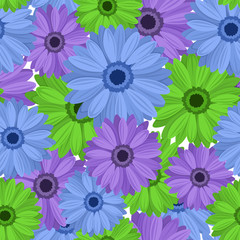 Seamless background with gerbera flowers. Vector illustration.