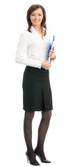 Full body of business woman with blue folder