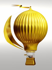 golden, magical thermal airship, Montgolfier