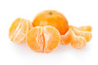 Tangerine and segments on white, clipping path