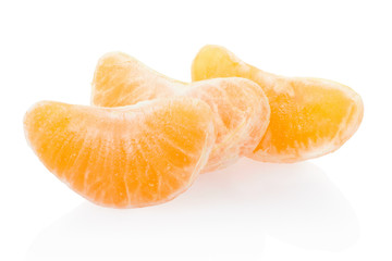 Tangerine, orange segments on white, clipping path