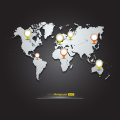 World Map with GPS Icons | EPS10 Editable Vector Background