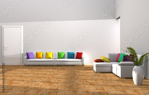 Stanza moderna con sofà