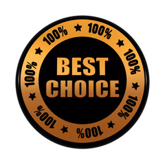 best choice 100 percentages in golden black circle label