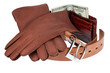 wallet,money, belt and gloves