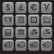 Financial and money icon set, square shape