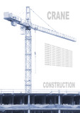 Construction crane on white. Monochrome industrial background.