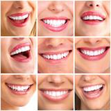 Beautiful woman smile collage.