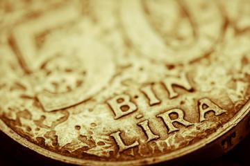 turkich lira. macro shot