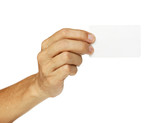 Male hand show blank card isolated on white background