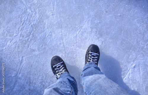 Hockey skates on ice