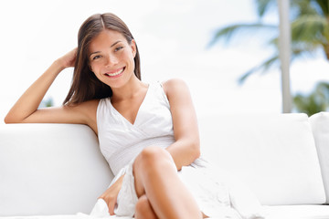 Portrait of young happy confident asian woman