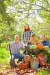 Happy  family with  harvest