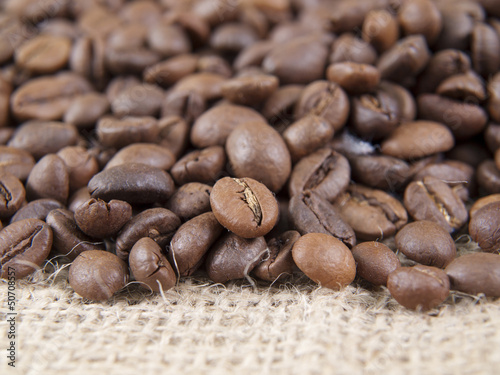 coffee grains and sack