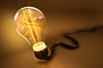 Rendering of  a lightbulb with u.s. currency symbol