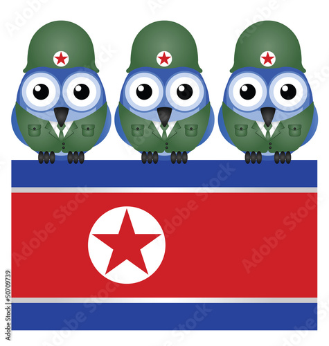 North Korea flag and soldiers