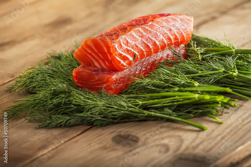Two pieces of gravlax