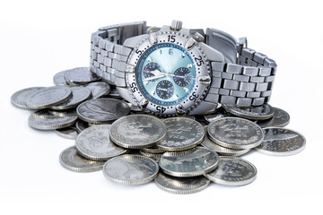 Croatian coins with wristwatch