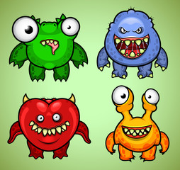 Set of four funny monsters variation 3