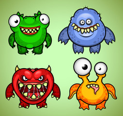 Set of four funny monsters variation 1