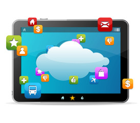 Black tablet like Ipade on white background and icons
